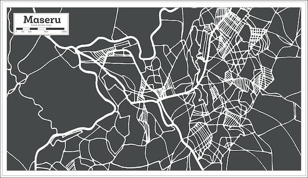 Mapa da cidade de maseru lesoto em estilo retro. mapa de contorno. ilustração vetorial.