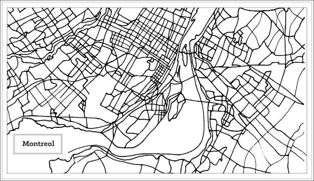 Mapa da cidade de montreal canadá em preto e branco. ilustração vetorial. mapa de contorno.