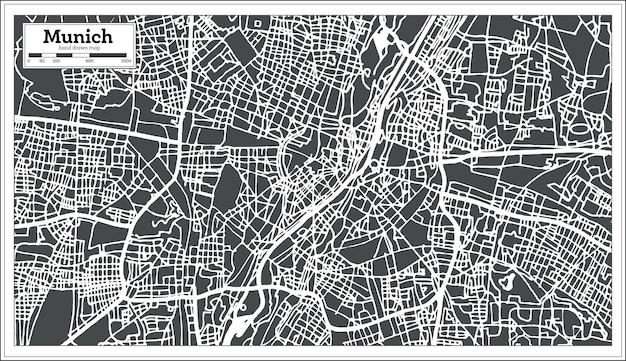 Mapa da cidade de munique, alemanha em estilo retro