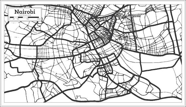 Mapa da cidade de nairobi quênia em preto e branco. mapa de contorno. ilustração vetorial.