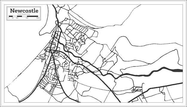 Mapa da cidade de newcastle england em estilo retro. mapa de contorno. ilustração vetorial.