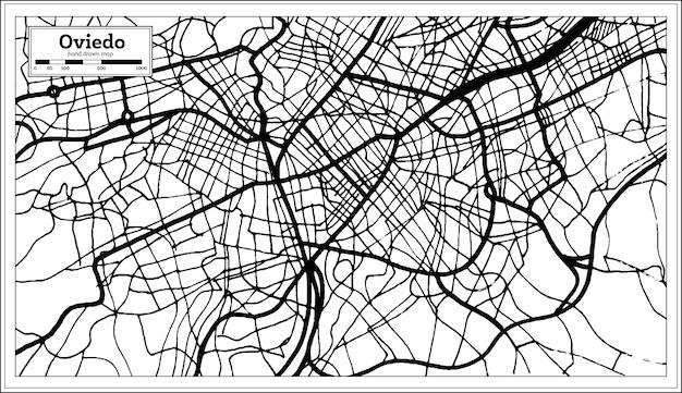 Mapa da cidade de oviedo espanha em estilo retro. mapa de contorno. ilustração vetorial.
