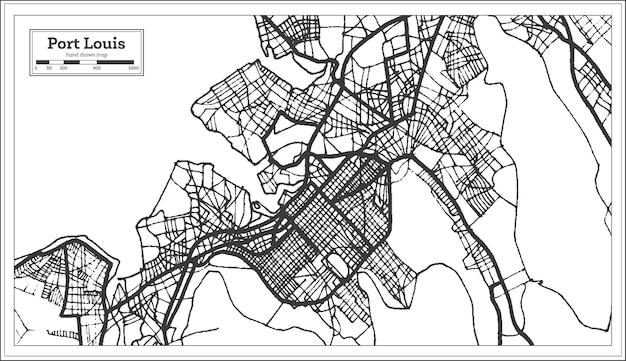 Mapa da cidade de port louis mauritius em preto e branco