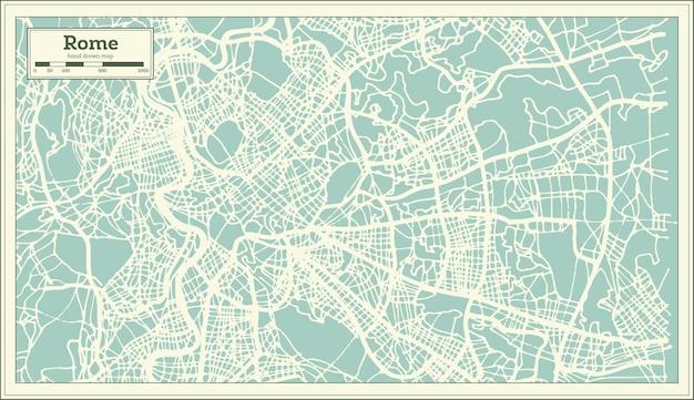 Mapa da cidade de roma itália em estilo retro