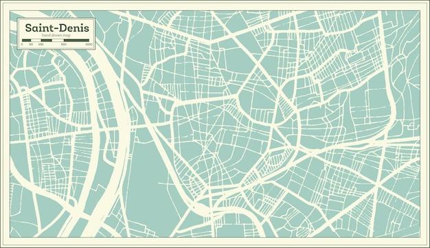 Mapa da cidade de saint-denis frança em estilo retro