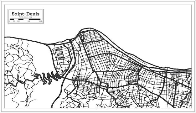 Mapa da cidade de saint denis reunion na cor preto e branco