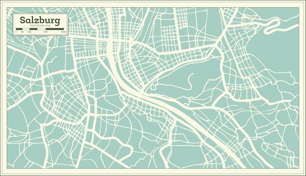 Mapa da cidade de salzburg áustria em estilo retro