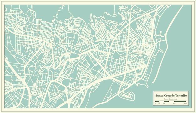 Mapa da cidade de santa cruz de tenerife espanha em estilo retro