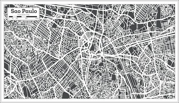 Mapa da cidade de são paulo brasil em estilo retro. ilustração vetorial. mapa de contorno.