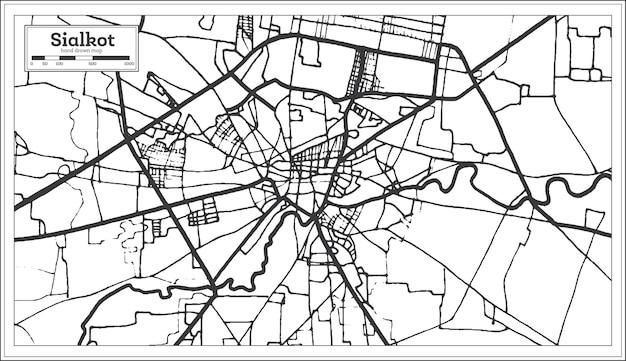 Mapa da cidade de sialkot do paquistão em estilo retro na cor preto e branco
