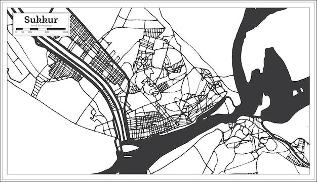 Mapa da cidade de sukkur paquistão em estilo retro na cor preto e branco