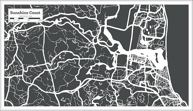Mapa da cidade de sunshine coast australia em estilo retrô