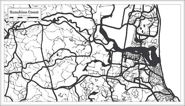 Mapa da cidade de sunshine coast australia em preto e branco