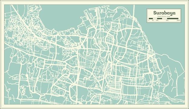 Mapa da cidade de surabaya indonésia em estilo retro