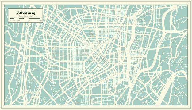 Mapa da cidade de taichung taiwan em estilo retro