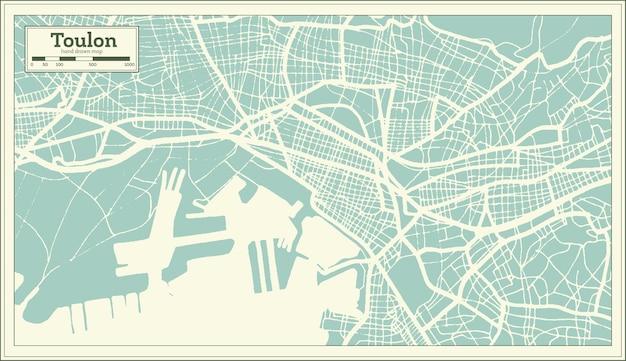 Mapa da cidade de toulon frança em estilo retro