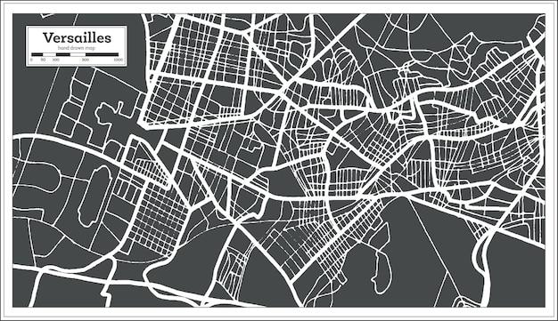 Mapa da cidade de versalhes na frança em estilo retro