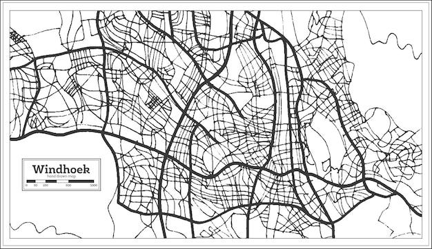 Mapa da cidade de windhoek namíbia em estilo retro. mapa de contorno. ilustração vetorial.