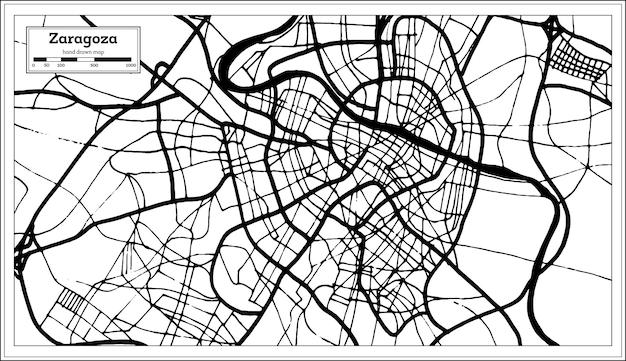 Mapa da cidade de zaragoza espanha em estilo retro. mapa de contorno. ilustração vetorial.