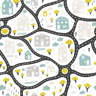 Mapa da cidade do bebê com estradas e edifícios, padrão sem emenda. ilustração dos desenhos animados em estilo escandinavo desenhado à mão infantil. para berçário, têxteis, papel de parede, embalagens, roupas, etc.