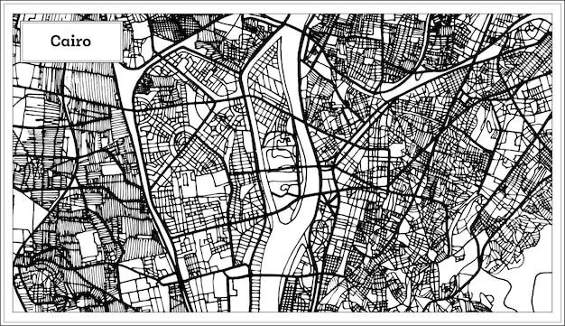 Mapa da cidade do cairo egito na cor preto e branco. ilustração vetorial. mapa de contorno.