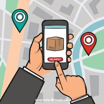 Mapa da cidade e mãos segurando o telefone