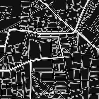 Mapa da cidade em preto e branco