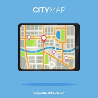 Mapa da cidade gps em design plano