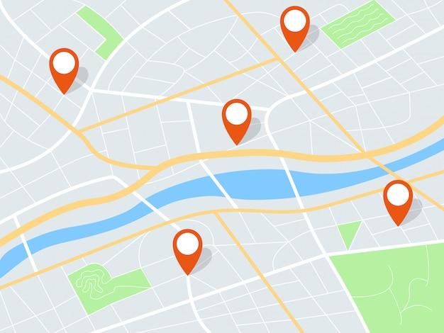 Mapa da cidade realista com marcadores vermelhos e ícones arredondados plana 2d