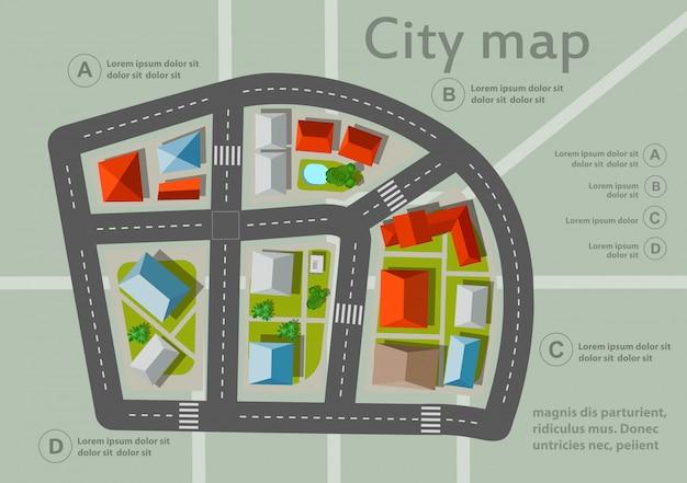 Mapa da cidade vista superior