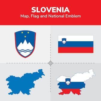 Mapa da eslovênia, bandeira e emblema nacional
