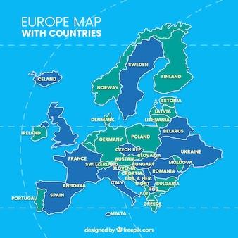 Mapa da europa com países de cores