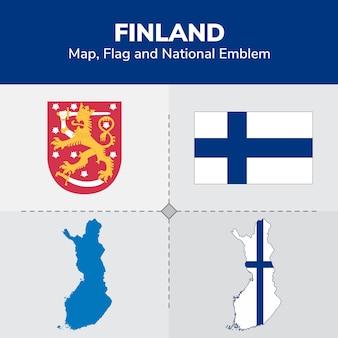 Mapa da finlândia, bandeira e emblema nacional