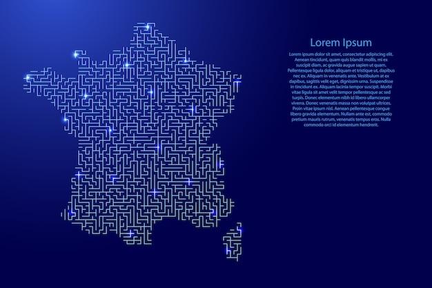 Mapa da frança do padrão azul da grade do labirinto e da grade de estrelas brilhantes do espaço.