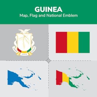 Mapa da guiné, bandeira e emblema nacional