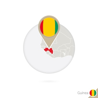 Mapa da guiné e bandeira em círculo. mapa da guiné, pino de bandeira da guiné. mapa da guiné no estilo do globo. ilustração vetorial.