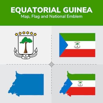 Mapa da guiné equatorial, bandeira e emblema nacional