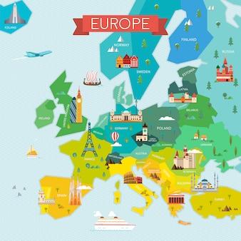 Mapa da ilustração da europa