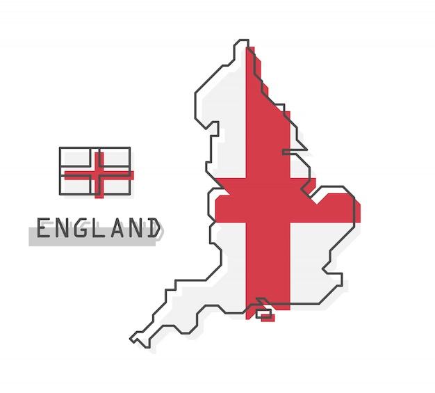 Mapa da inglaterra e bandeira