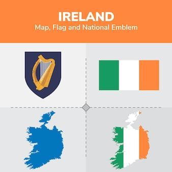 Mapa da irlanda, bandeira e emblema nacional