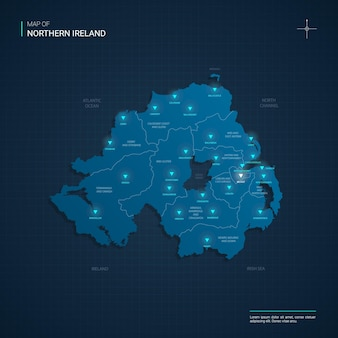Mapa da irlanda do norte com pontos de luz de néon azul - triângulo em gradiente azul escuro
