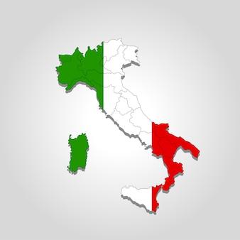 Mapa da itália com os limites das cidades