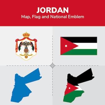 Mapa da jordânia, bandeira e emblema nacional