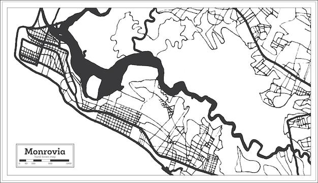 Mapa da libéria de monróvia em preto e branco. ilustração vetorial. mapa de contorno.