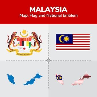 Mapa da malásia, bandeira e emblema nacional
