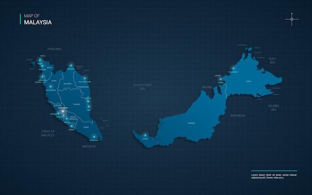 Mapa da malásia com pontos de luz neon azul