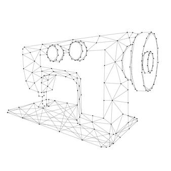 Mapa da máquina de costura de linhas pretas poligonais futuristas abstratas e pontos. ilustração vetorial.