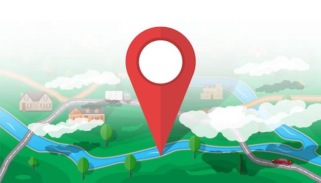 Mapa da natureza suburbana. gps e navegação