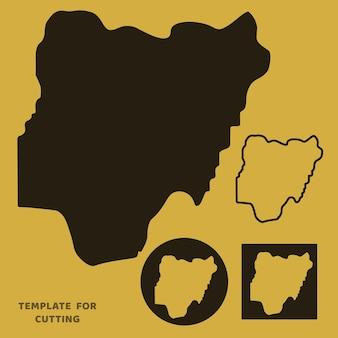 Mapa da nigéria modelo para corte a laser, escultura em madeira, corte de papel. silhuetas para corte. estêncil de vetor de mapa da nigéria.