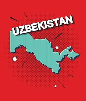 Mapa da pop art do uzbequistão